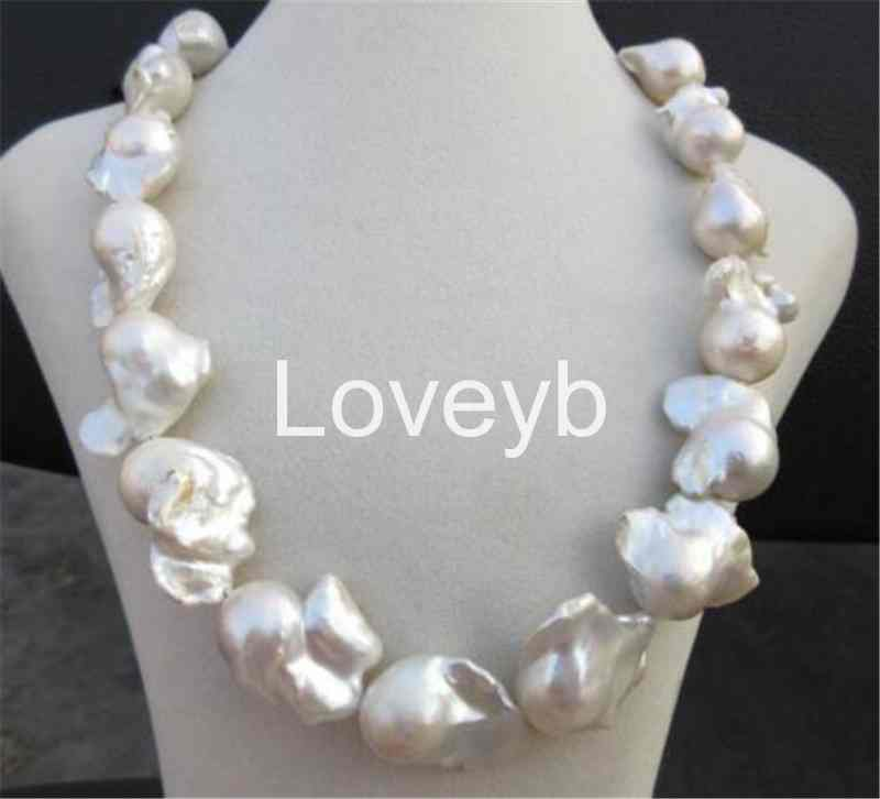 11x13MM REAL HUGE SOUTH SEA WHITE BAROQUE PEARL NECKLACE 18/'/'