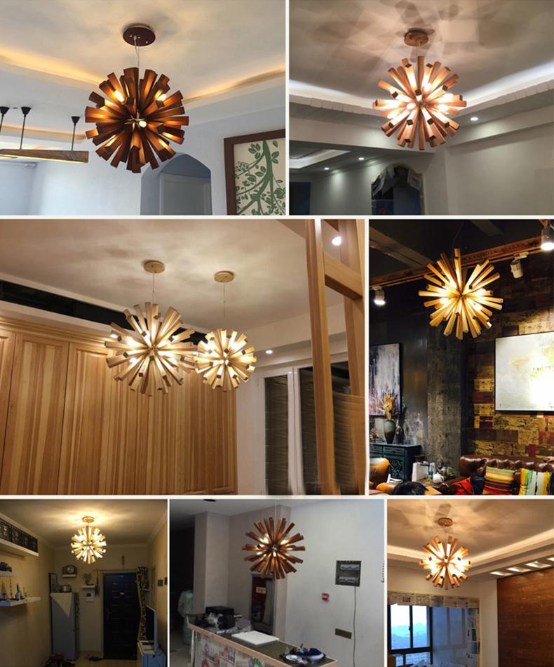Nordic Art Wooden Living Room Lighting LED Dandelion Ceiling Lighting Chandelier