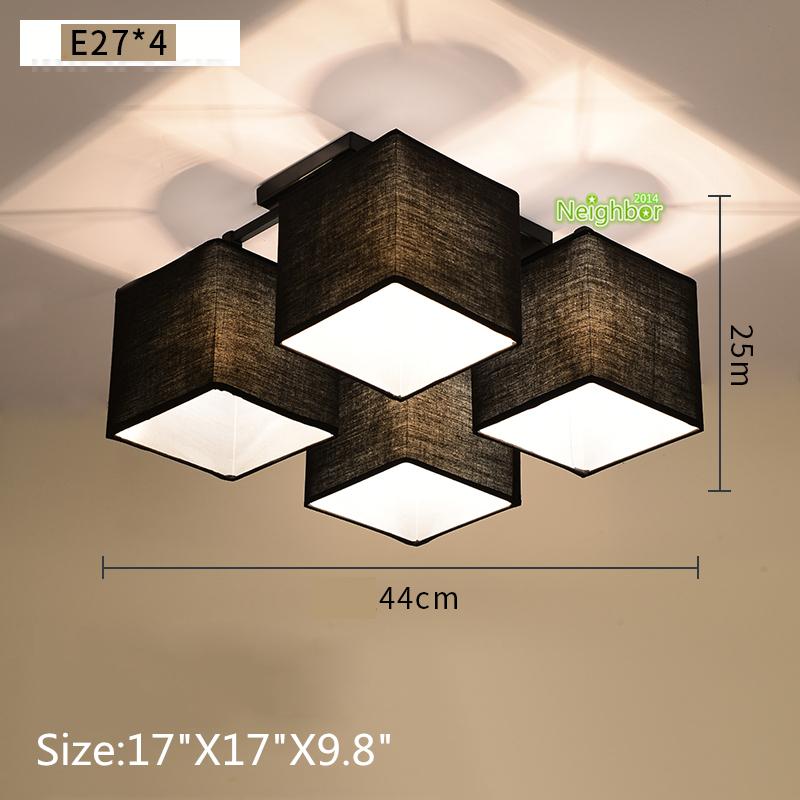 Modern simple square blackwhite cloth fabric ceiling light pendant modern simple square black white cloth fabric ceiling aloadofball Choice Image