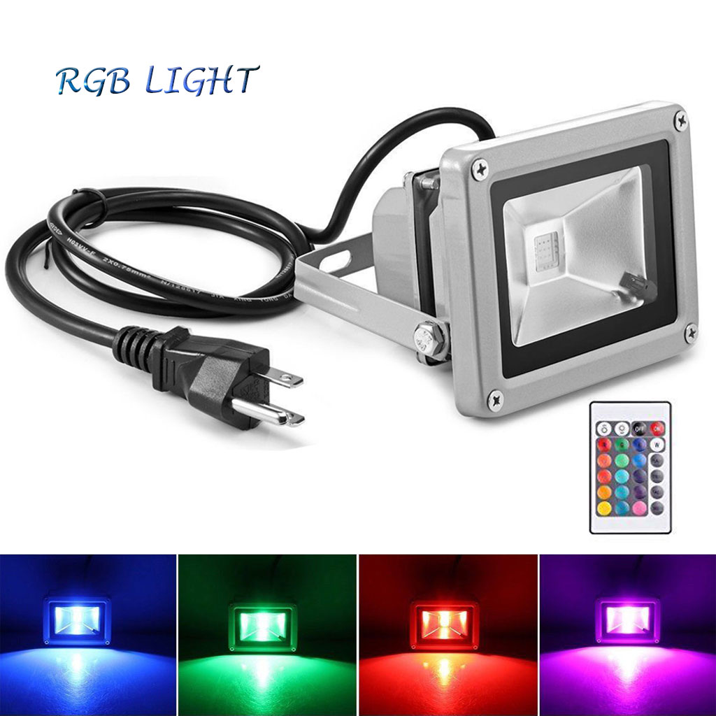 Details About 10w Rgb Led Flood Light Waterproof Outdoor Lighting 24 Key Remote Garden Pathway