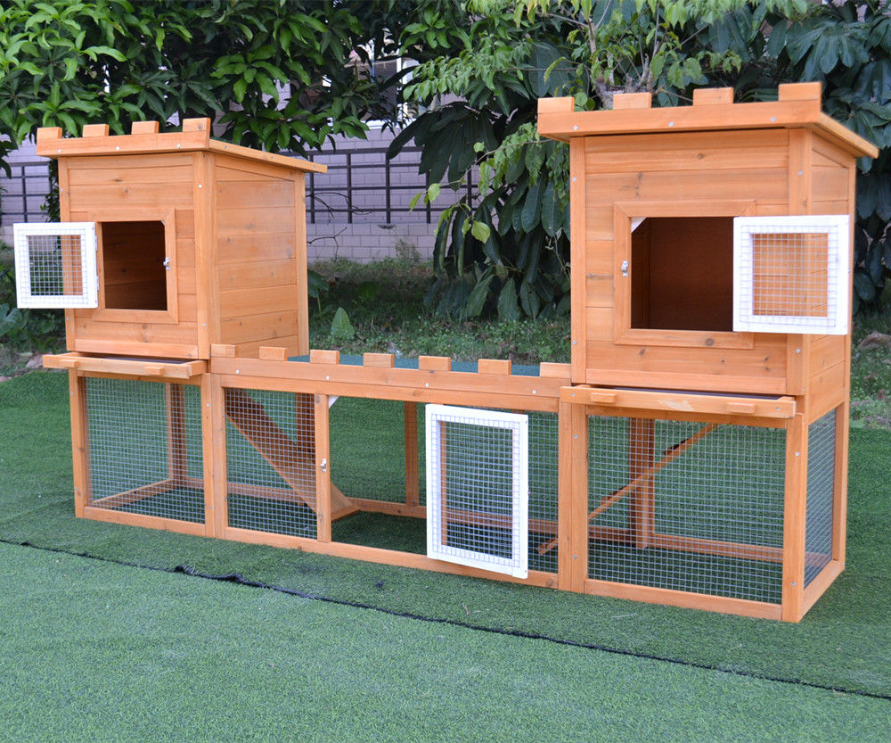 "75.6/"" Deluxe Wooden Rabbit Hutch Pet House Chicken Coop Poultry Wood Cage w// Run"