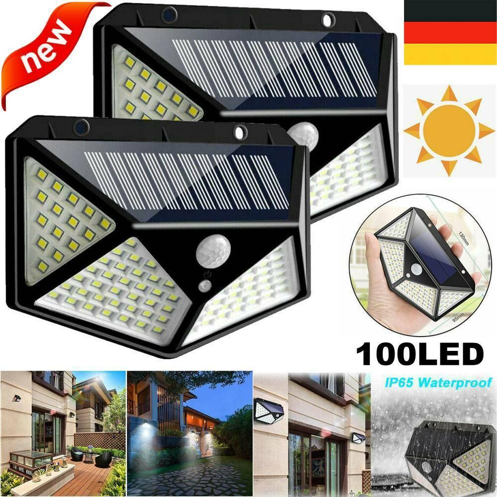 208LED Solar Wandleuchte mit Bewegungsmelder IP65 Außen Garten Licht Lamp