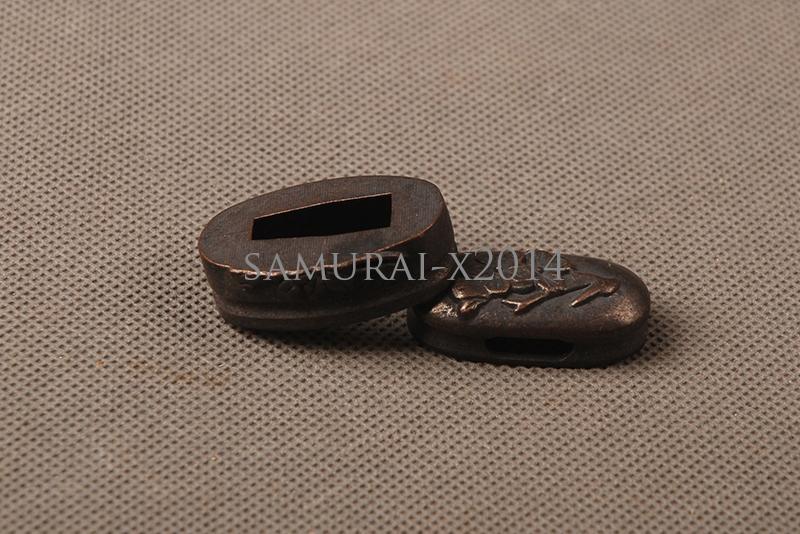 Black Plain Zinc Alloy Kashira Fuchi Butt Cap Hilt Collar For Japanese Sword DIY
