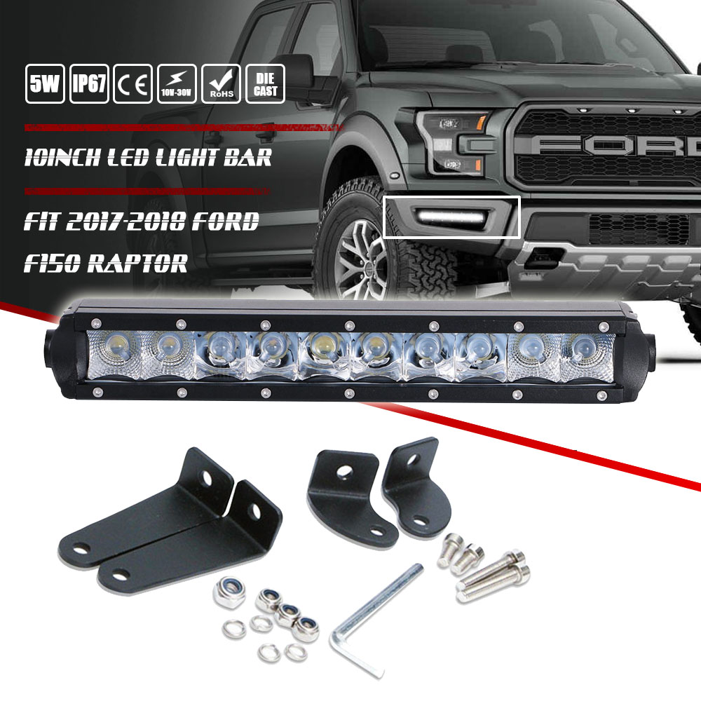 Details About 10 11inch Single Row Led Light Bar Fog Lamp Fit For 2017 2018 Ford F150 Raptor