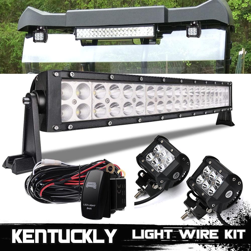 20 inch LED Light Bar + Cube Pod + Wiring Kit Polaris RZR S & 4 570 ...