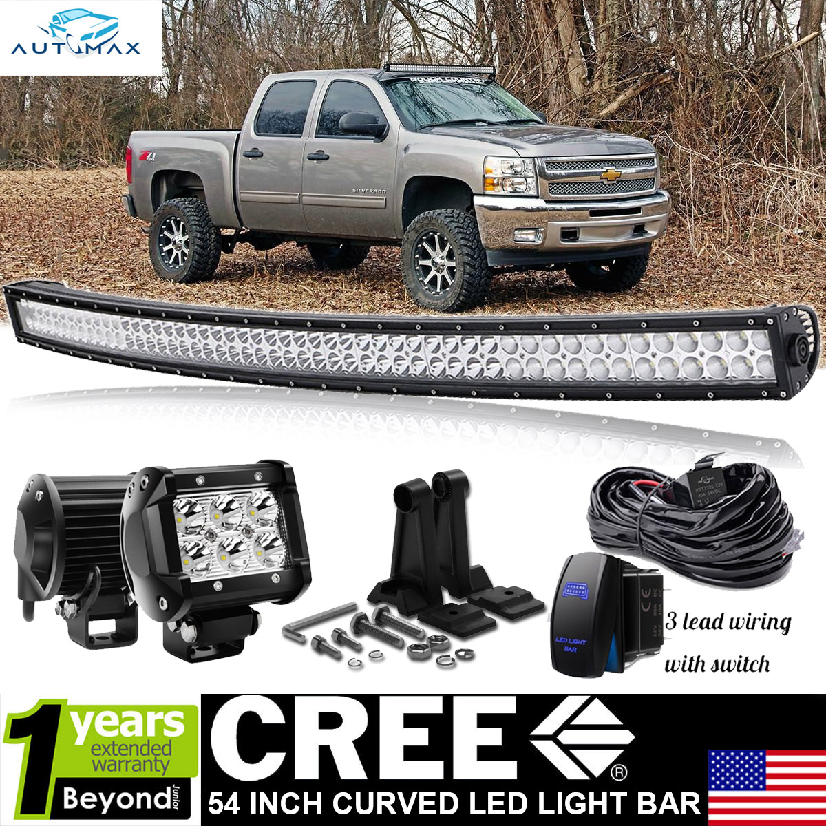 54 Quot Curved Led Light Bar Rocker Wiring 07 13 Chevy Chevy