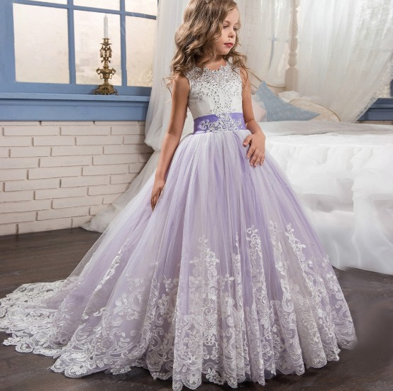 Wedding Bridesmaid Princess High Waist Puffy Flower Girl Dress Ball Gown for Kid