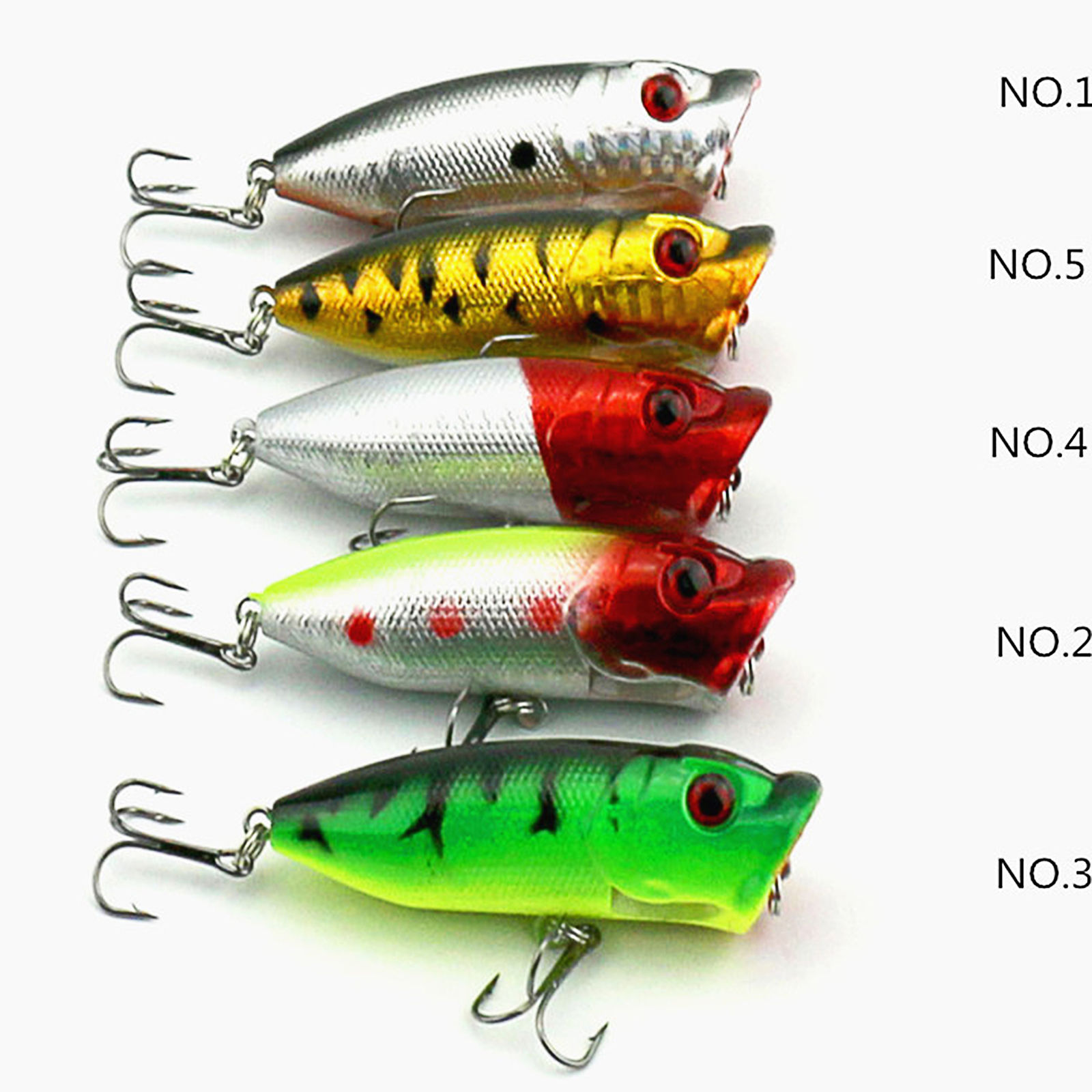 5PCS Lot Topwater Popper Freshwater Fishing Lures Bass Bait hook Tackle EN