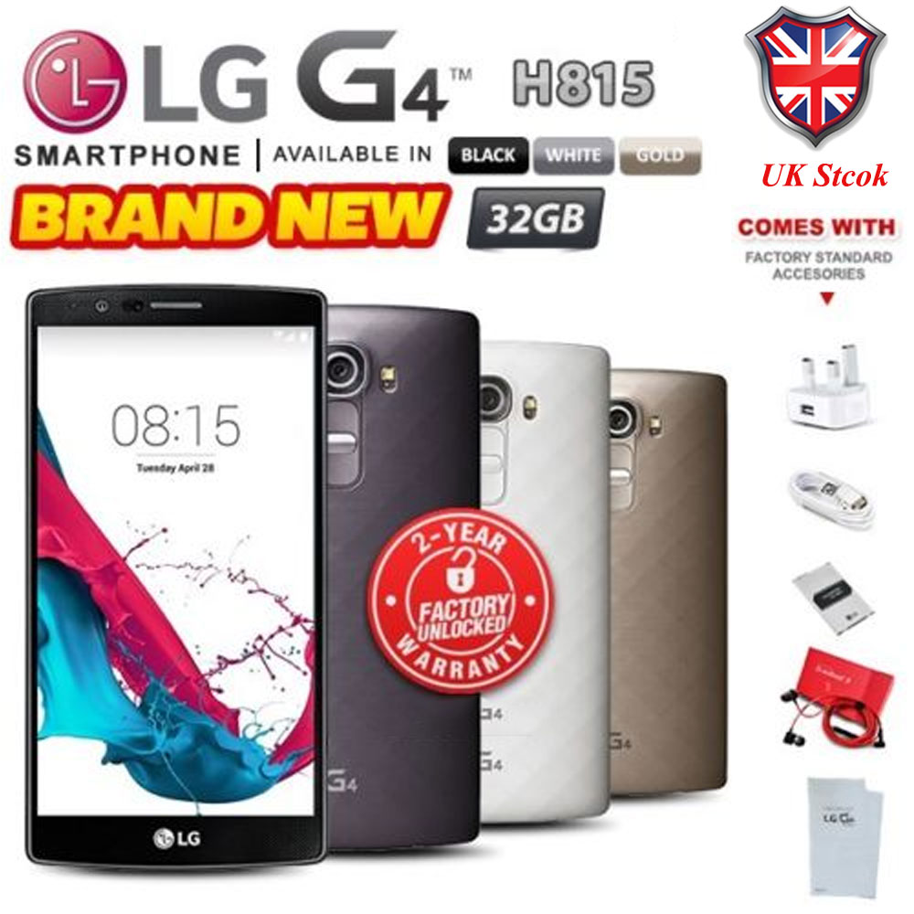 11e81272e Details about New   Sealed Factory Unlocked LG G4 H815 Black White Gold  32GB Android Phone uk