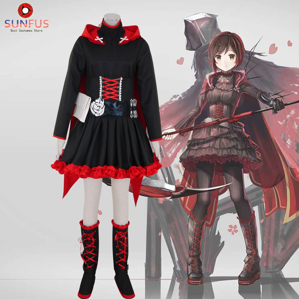 Halloween Rwby Ruby Ruby Rose Red Trailer Dress Cloak Cosplay
