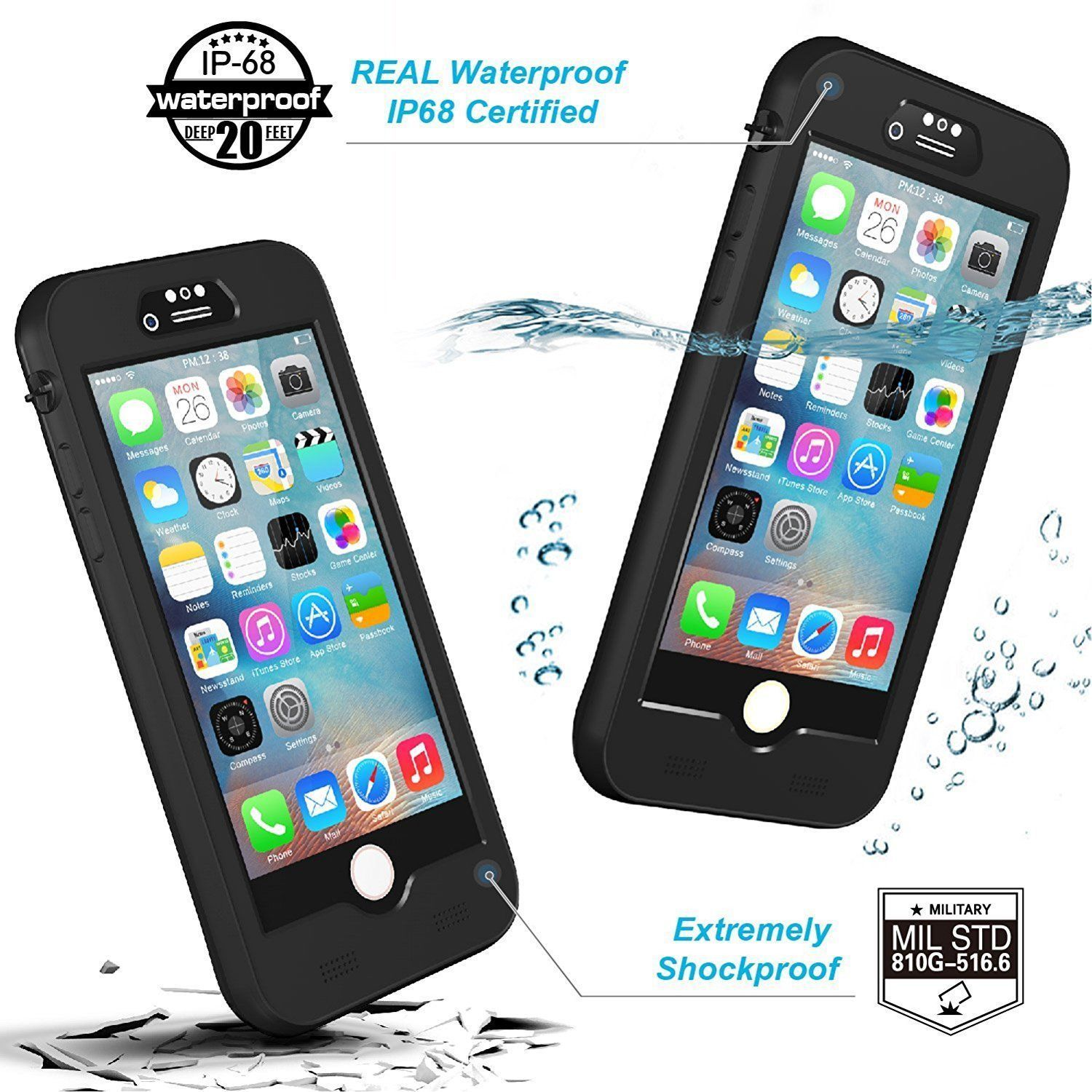hot sale online 2028b 90c23 Details about IP68 Waterproof Battery Case Heavy Duty Charging Cover for  iPhone 7 6S 8 Plus X