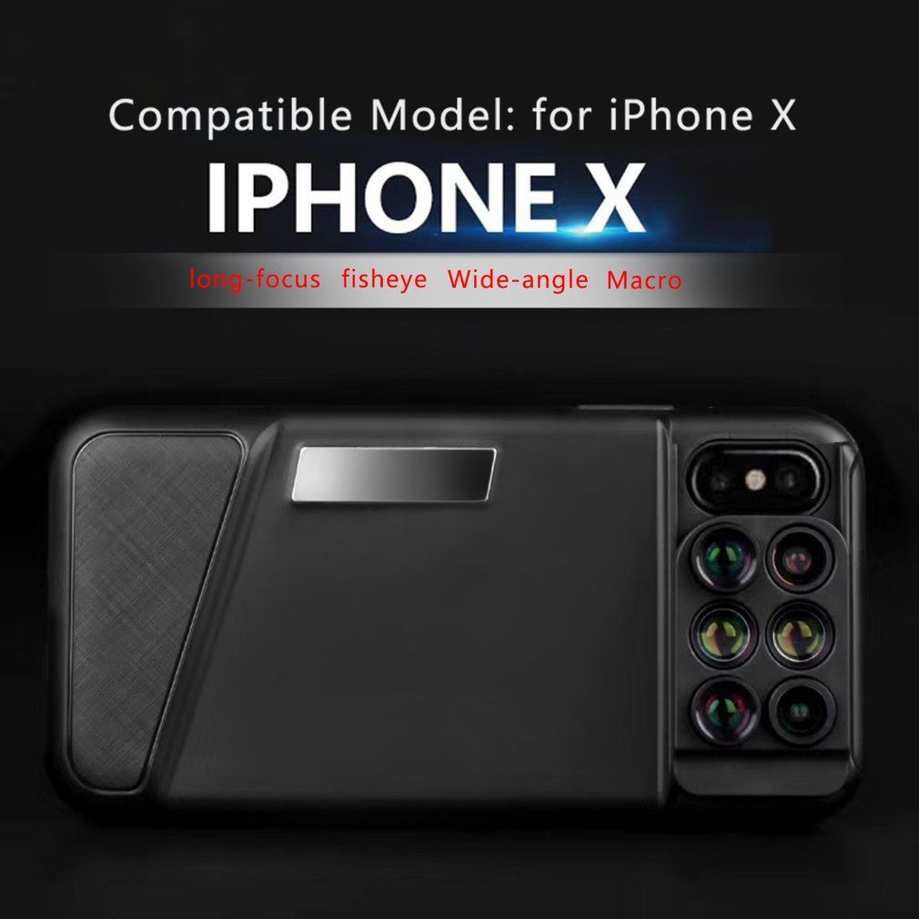 reputable site e4575 491c1 6 in1 Wide Angle Macro Fish Eye Telephoto Phone Lens Case for iPhone ...