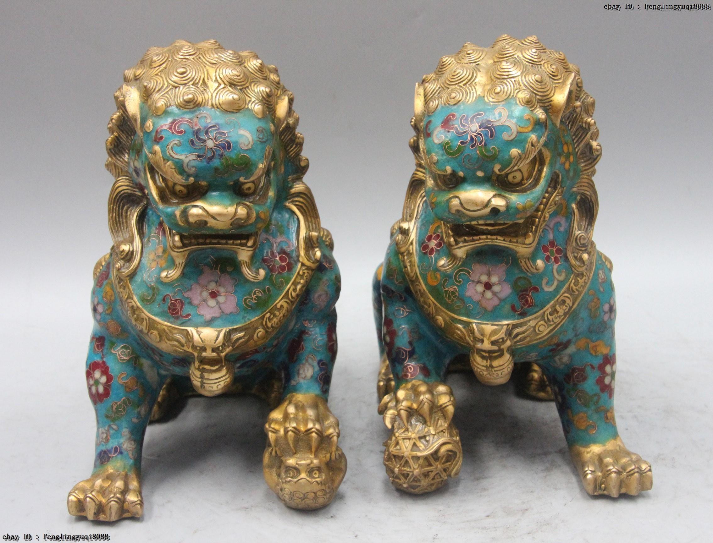 "4.7/"" China Cloisonne Enamel Bronze Fengshui Foo Fu Dog Guardion Lion Statue Pair"