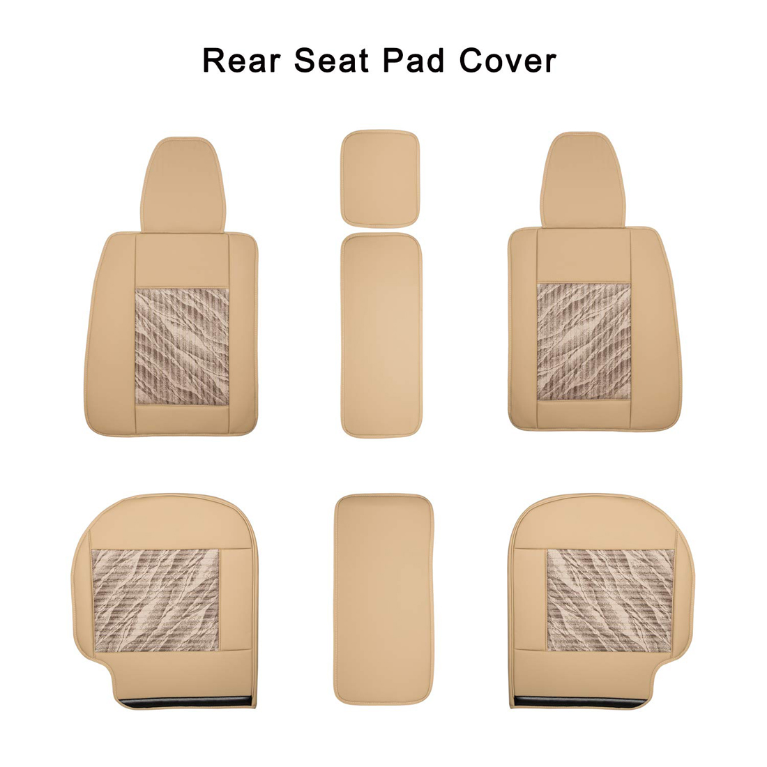 Beige Universal PU Leather Car Front Rear Seat Cover Pad
