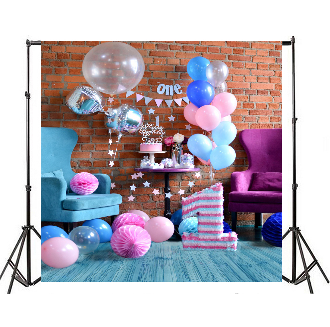 Cake Candy Tablescape Backdrop Baby 1st Birthday Background Vinyl Photo Prop 8x8