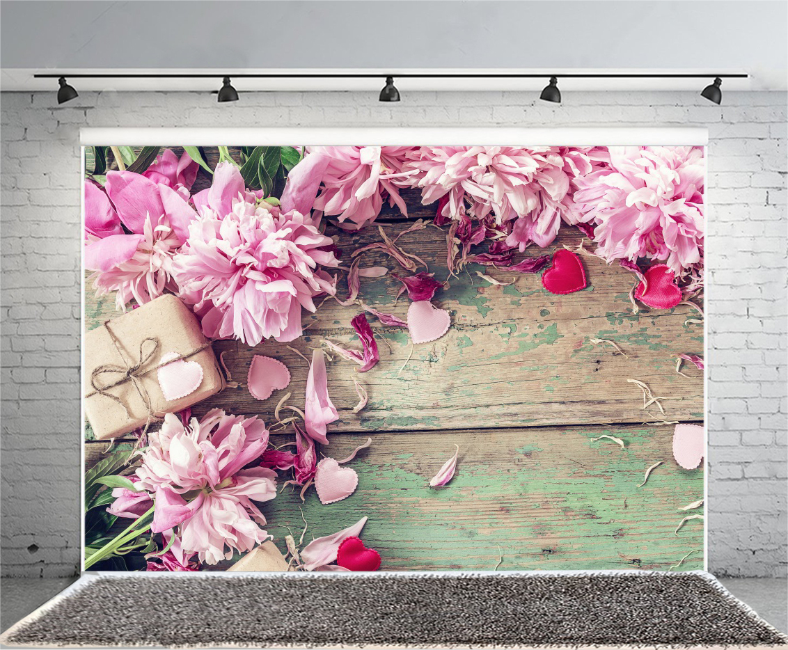 Pink Vintage Flowers 4x2 5ft Background Studio Props Backdrop