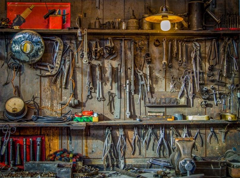 7x5 Photography Movie Prop Car Repair Shop Backdrop Wall