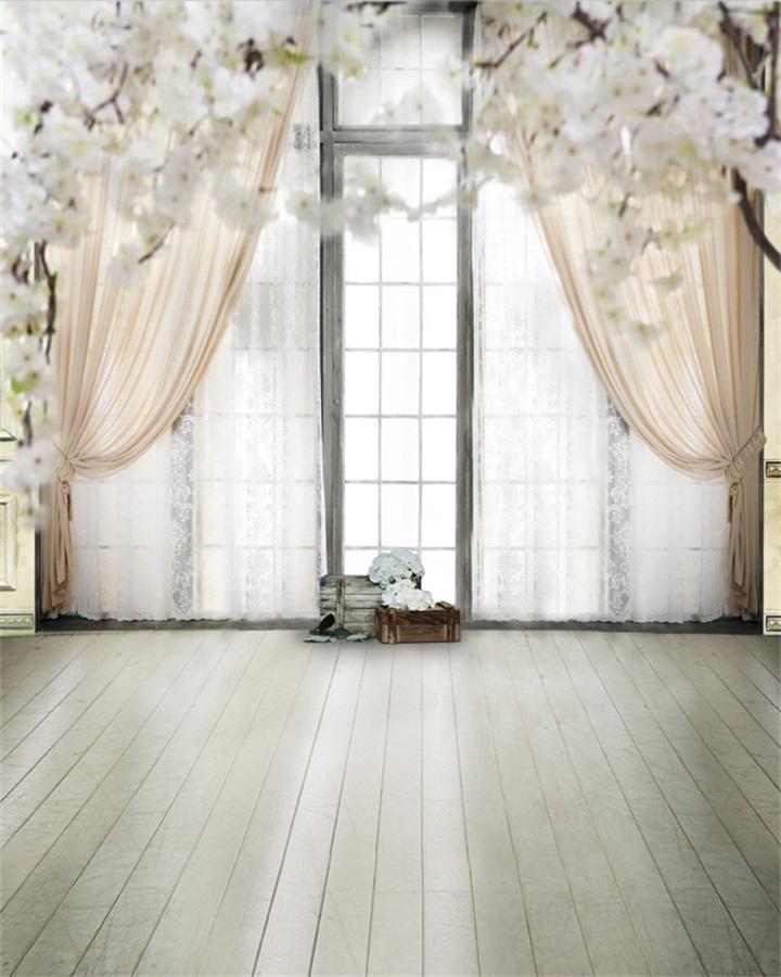 Wedding Indoor Curtain White Flower Vinyl Backround