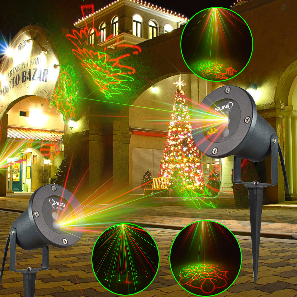 SUNY 8 Gobos Outdoor RG Laser Light Waterproof Projector Landscape ...
