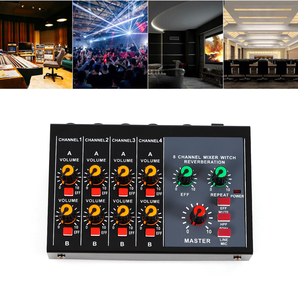 mini 8 audio mixer microphone sound digital mixing amplifier mix 8p musical ebay. Black Bedroom Furniture Sets. Home Design Ideas