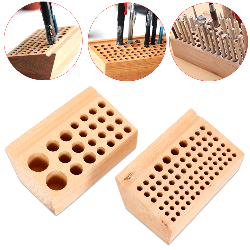 30 Hole Leathercraft Stamp Tools Stand Multi Hole Leather Punch Tool Wooden Holder Paint Brush Rack Holder
