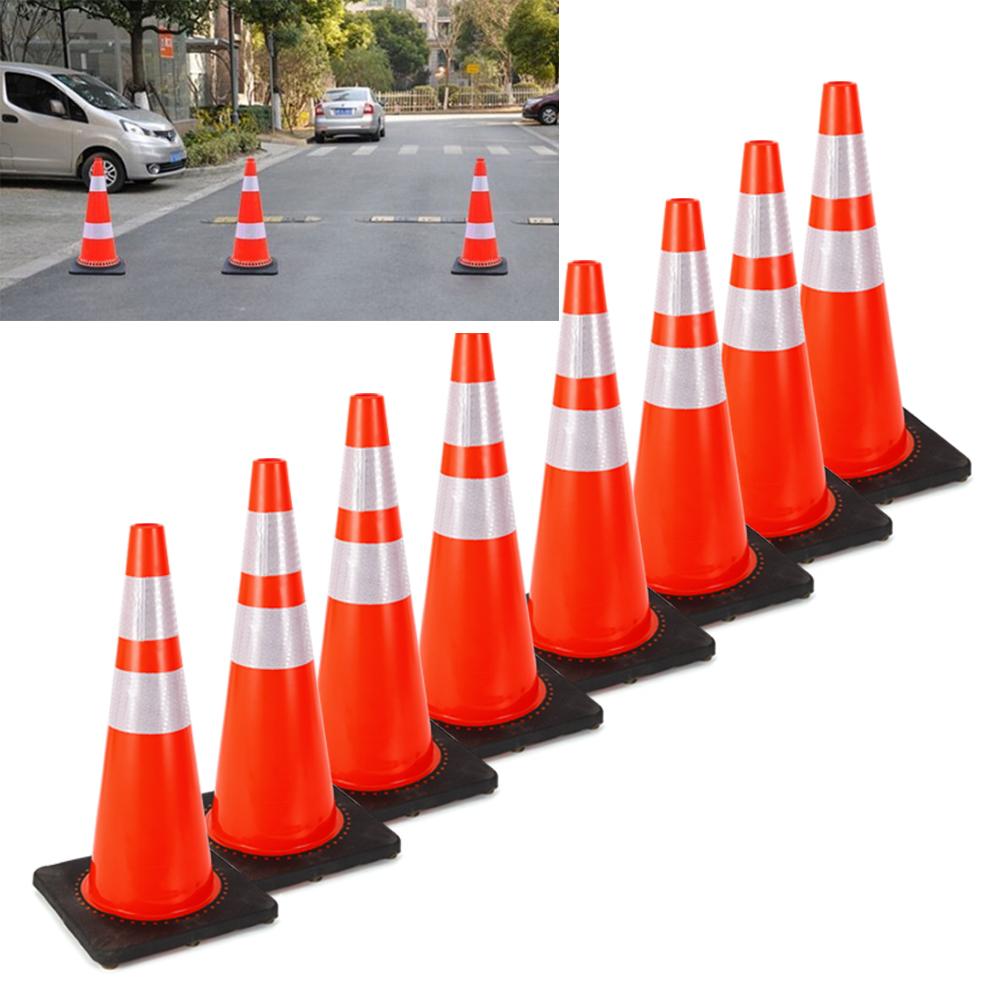 28-inch Traffic Safety Cones Fluorescent Orange 8//Pack Set w// Reflective Collar