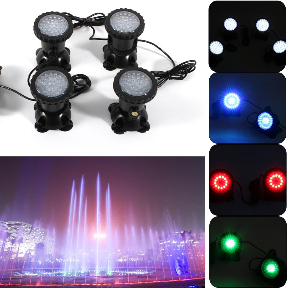 4x LED Unterwasser-Licht Teich Pool-Beleuchtung Aquarium-Leuchten Wasserdicht DE