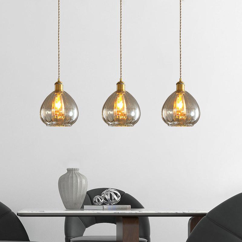 Mid Century Modern Teardrop Kitchen Hanging Pendant Amber ...