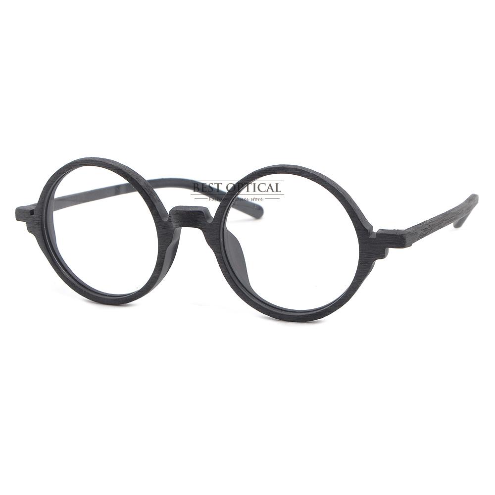 Vintage Round Myopia Eyeglasses Frames Faux Wood Grain Optical ...