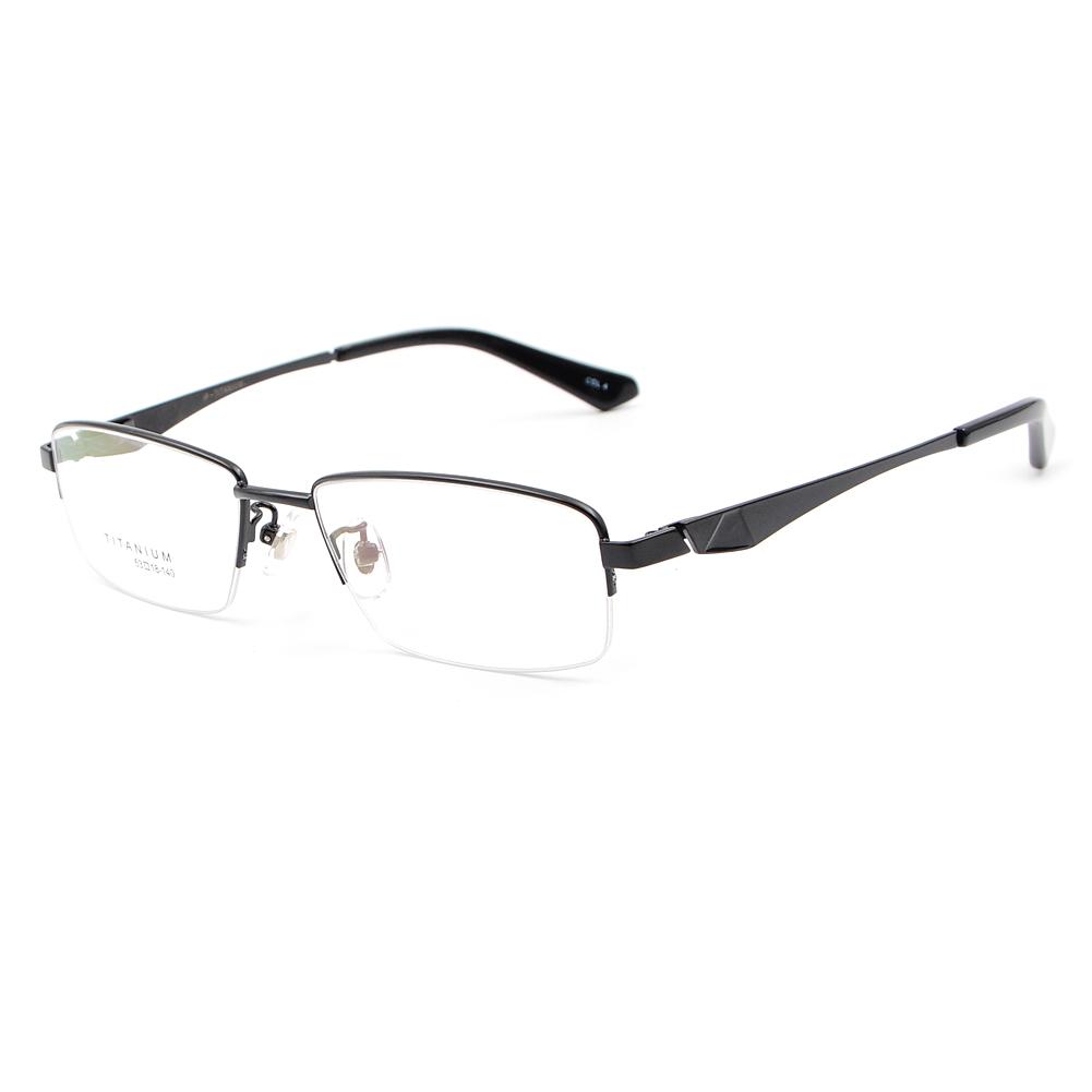 US Stock Designer Pure Titanium Eyeglasses Frames Men\'s Half Rimless ...