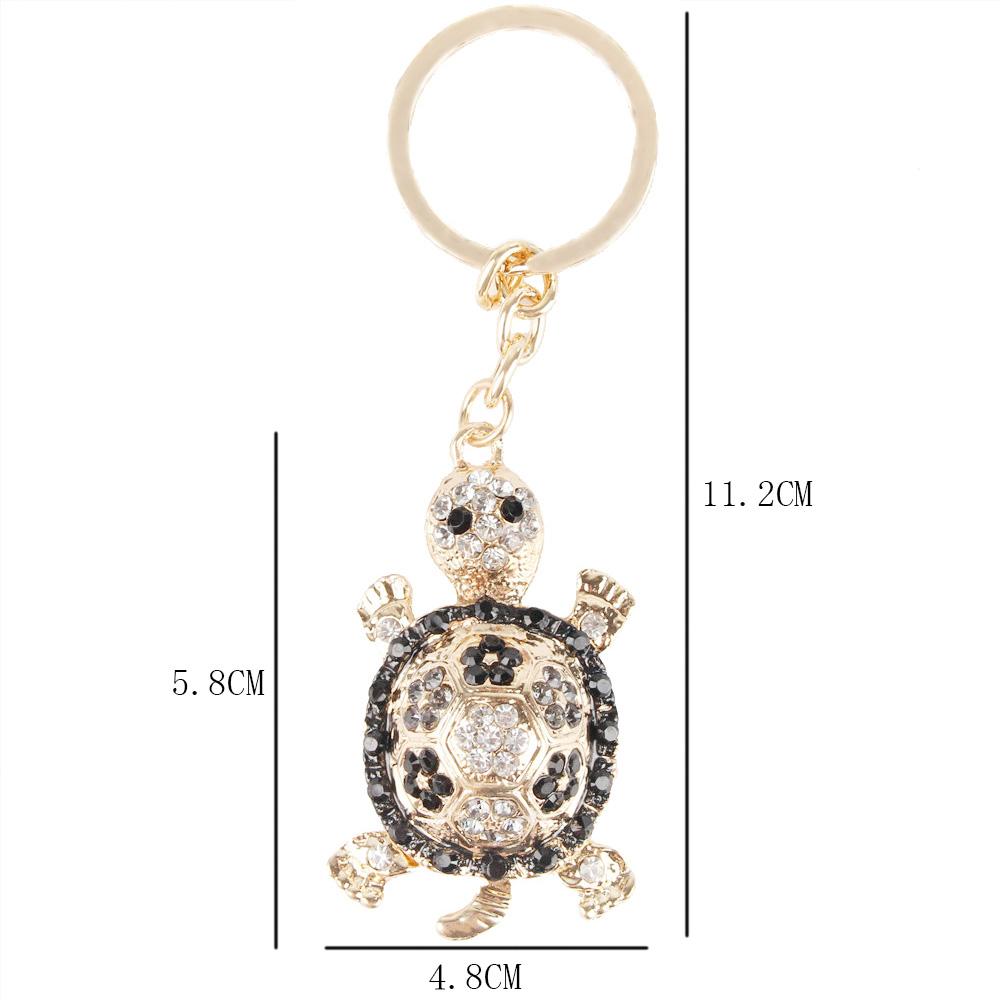 Lovely Tortoise Turtle Charm Rhinestone Crystal Purse Bag Keyring Key Chain Gift