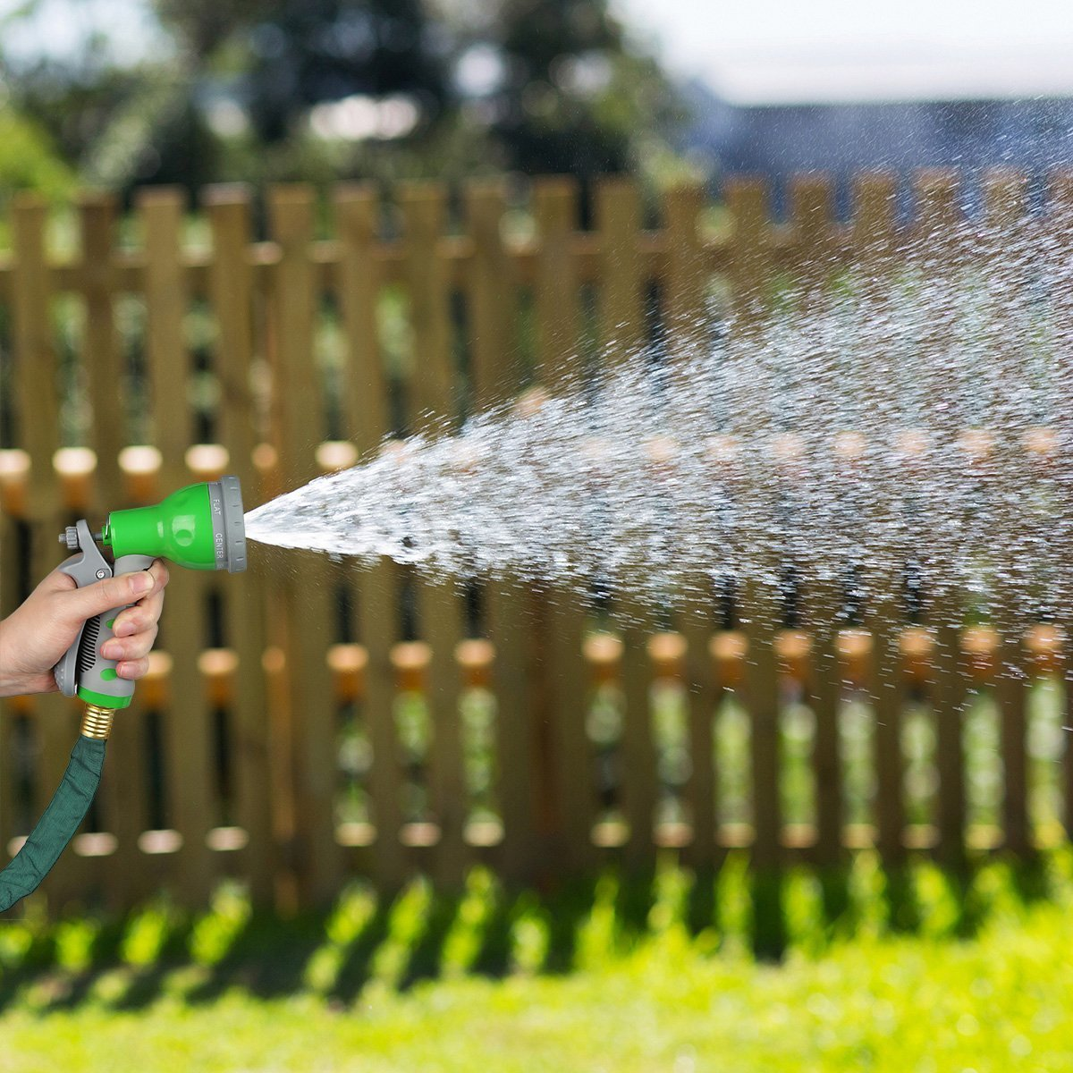 1byone 50ft Flat Garden Hose 7 Function Spray Nozzle High Pressure ...