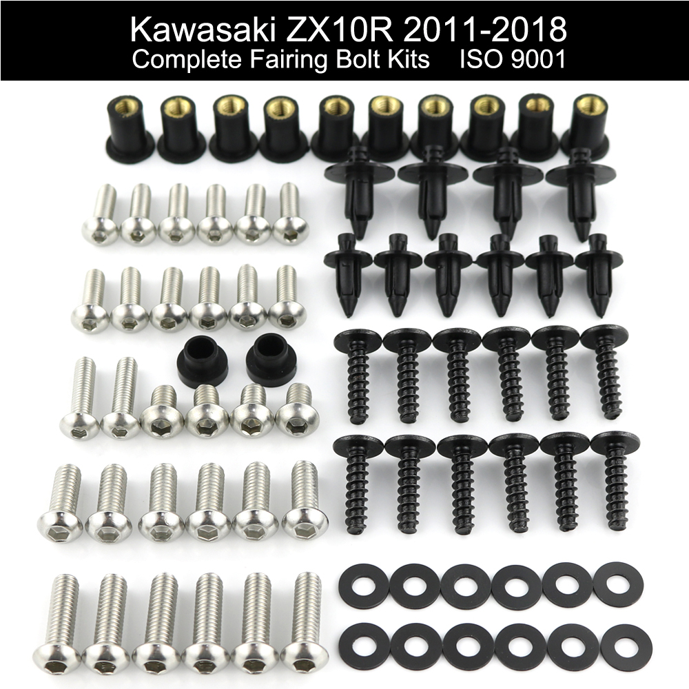 Black Complete Motorcycle Fairing Bolt Kit For Kawasaki Ninja ZX-14 ZZR1400 2006-2011 Body Screws Fasteners and Hardware