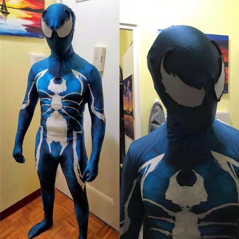 Hot Unisex Superhero Venom Symbiote Spiderman Costume Cosplay Zentai 3D Bodysuit
