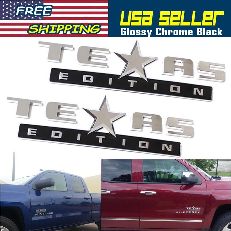 Texas Edition Tahoe >> Details About 2x New Texas Edition Emblem 3d Badge For Chevrolet Sierra Silverado Tahoe Chrome