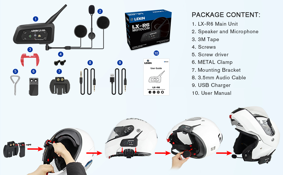 LEXIN LX-R6 motorcycle Bluetooth helmet Headset Intercom Communication Headphone