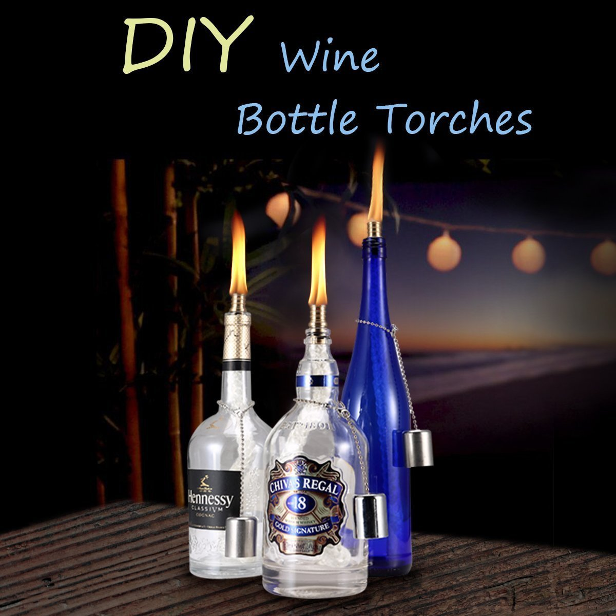 Details About 3 Pack Wine Bottle Torch Wicks Lamp Diy Light With Brass Mounts Lamp Covers