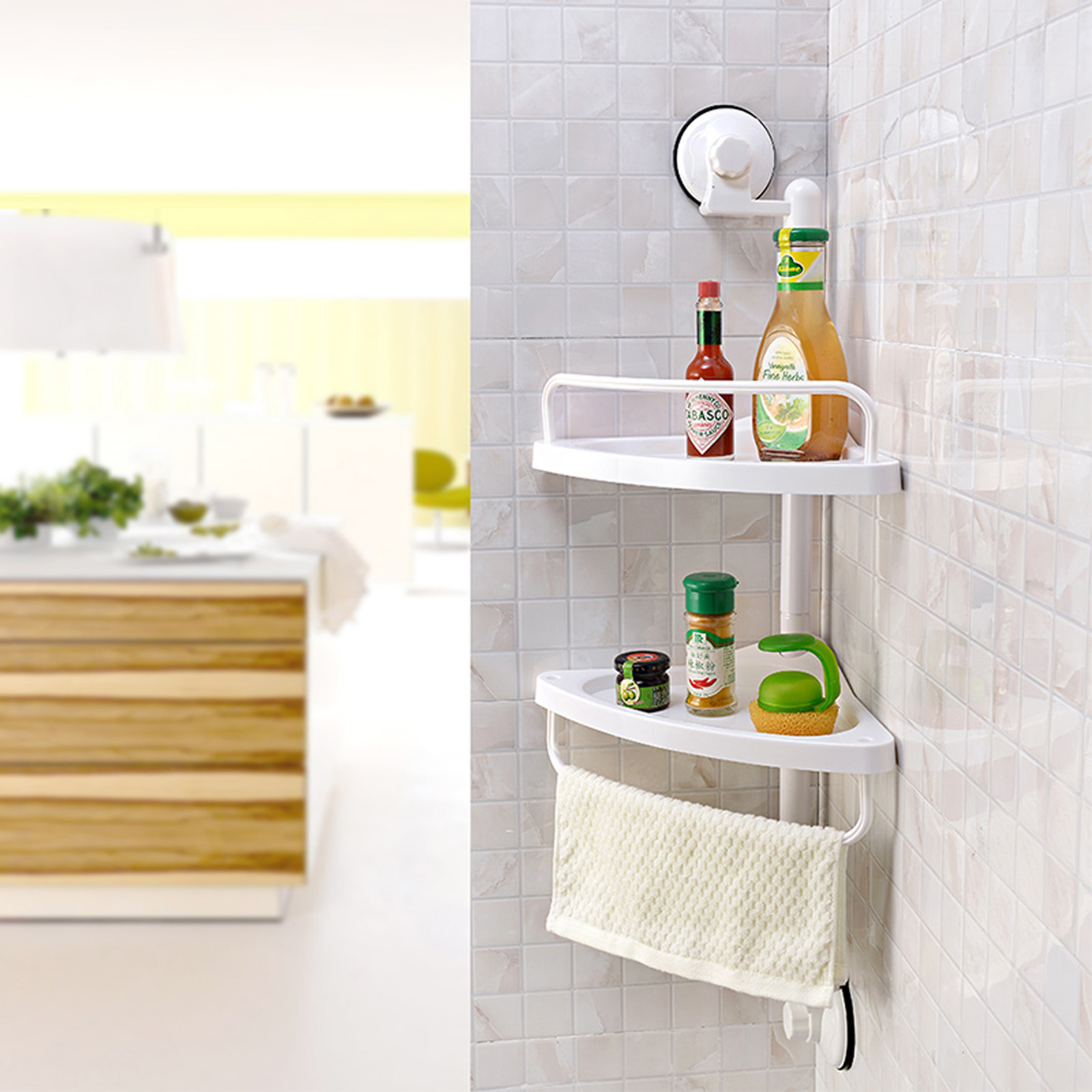 Details about 2Tier Bathroom Bathtub Shower Caddy Holder Corner Rack Shelf Organizer Accessory