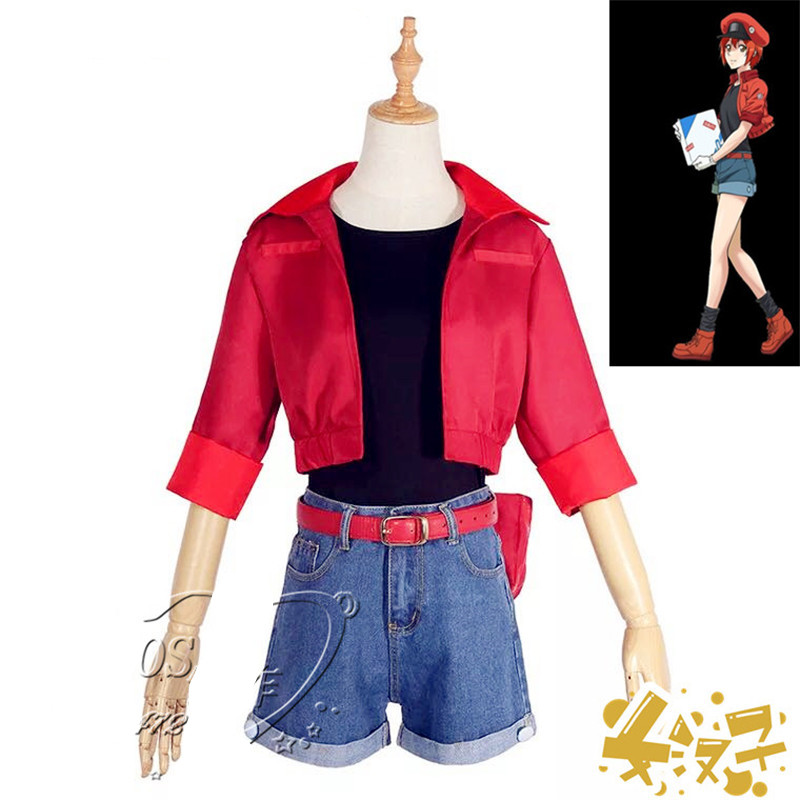 Cells at Work Erythrocyte Red Blood Cell Cosplay Costume Outfit with Bag Hat Set