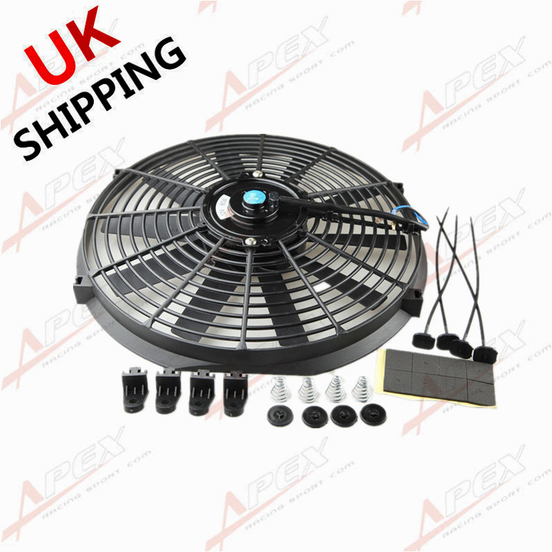 """14/"""" Inch 12V Push Pull Radiator Electric Cooling Fan Straight Blade Mount Kit"""