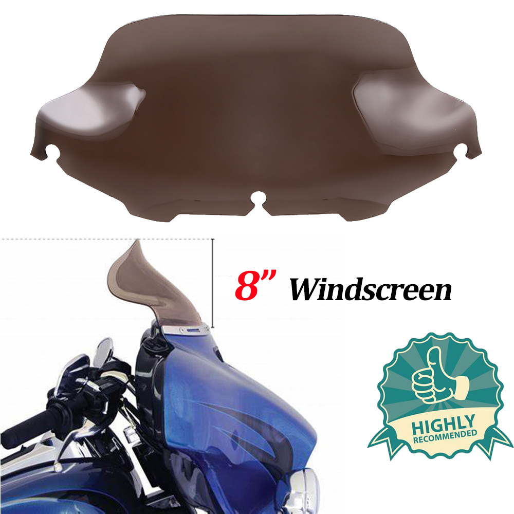 """8/"""" Wave Windshield Windscreen For 96-13 Harley Touring Street Glide Electra"""