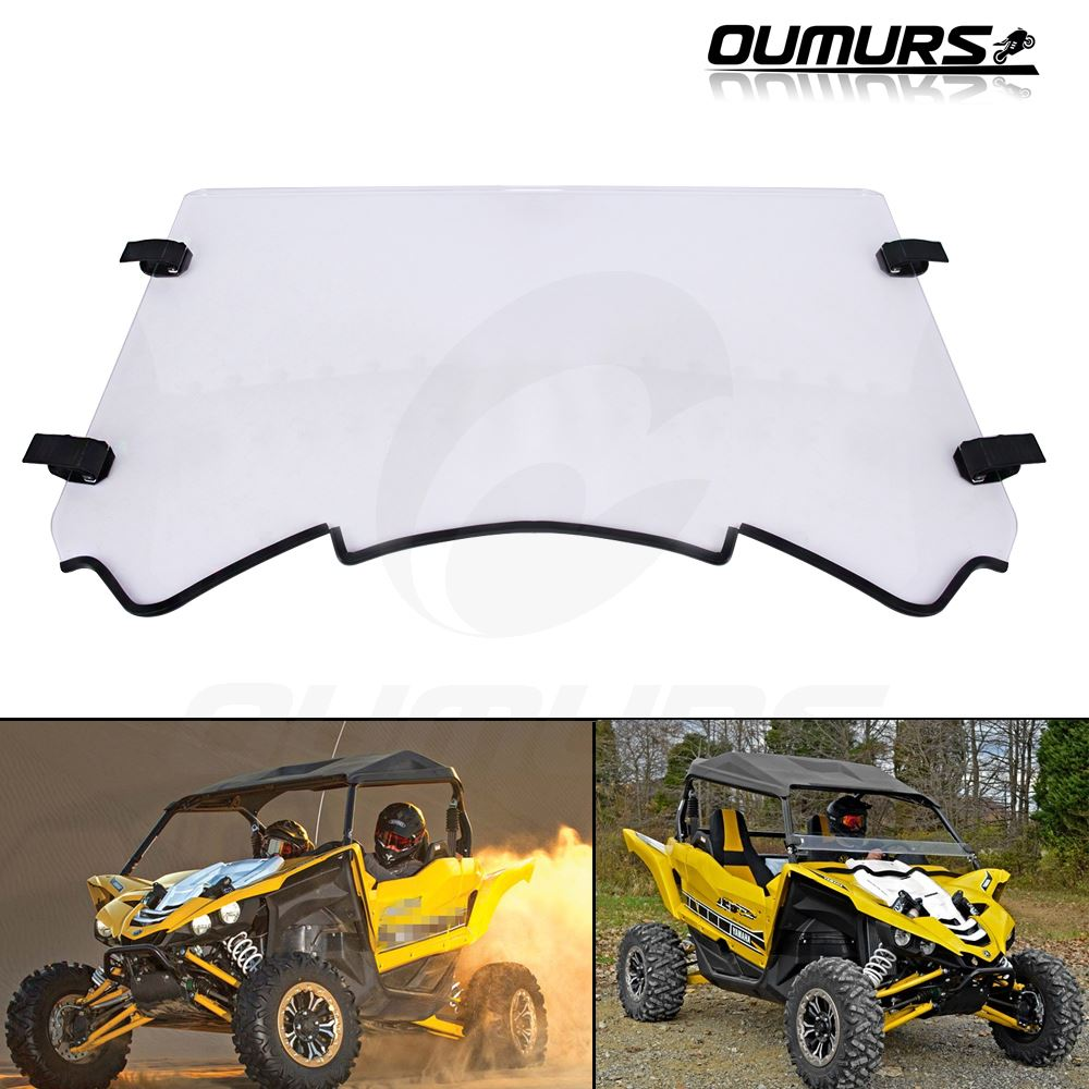 Scratch Resistant Windscreen with Clamp for UTV Yamaha YXZ 2016-2018 Yamaha Half Front Windshield