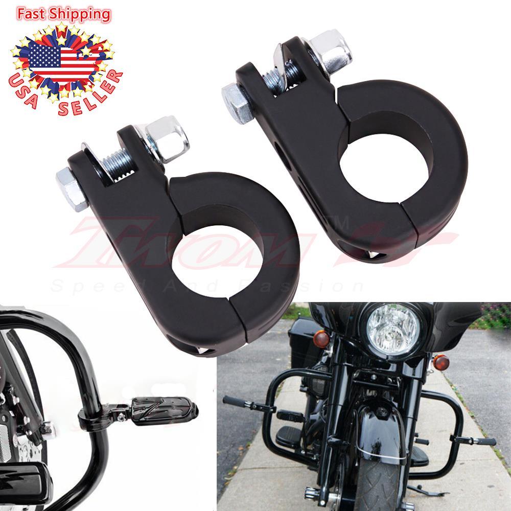 "1.25/"" Highway Foot Peg Mounts Black Fit Harley Touring Road King Engine Bars New"