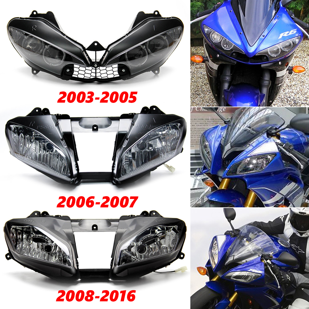 Details about Front Headlight Assembly For Yamaha YZF R6 YZF-R6 2003-2005  2006-2007 2008-2016