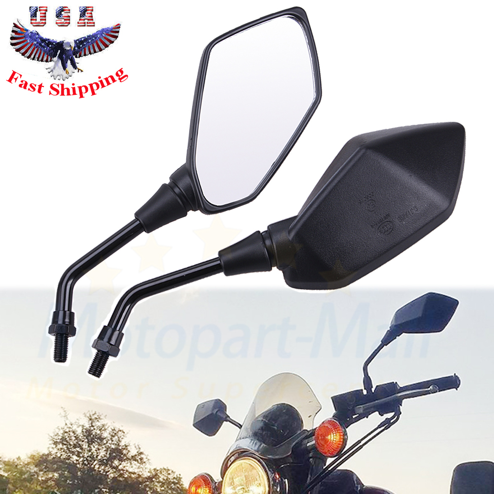 Suuonee Rearview Mirrors 1 Pair of Universal Motorcycle Motorbike Rearview Side Mirrors With 10mm Installing Screw