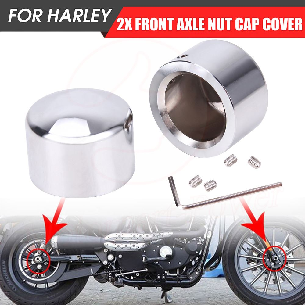 Front Axle Nut Cover Axle Caps Set Black for Harley Dyna Softail Electra Road Glide Sportster Fat Boy Forty Eight Heritage Softail