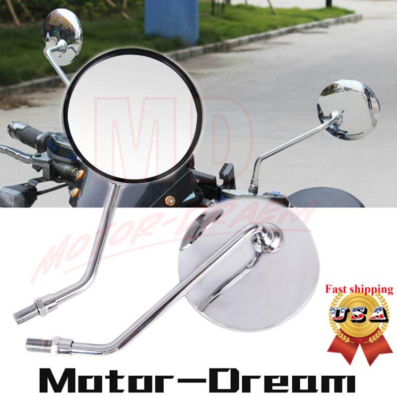 motorcycle rear mirrors round chrome 8mm standard for Honda Suzuki Yamaha