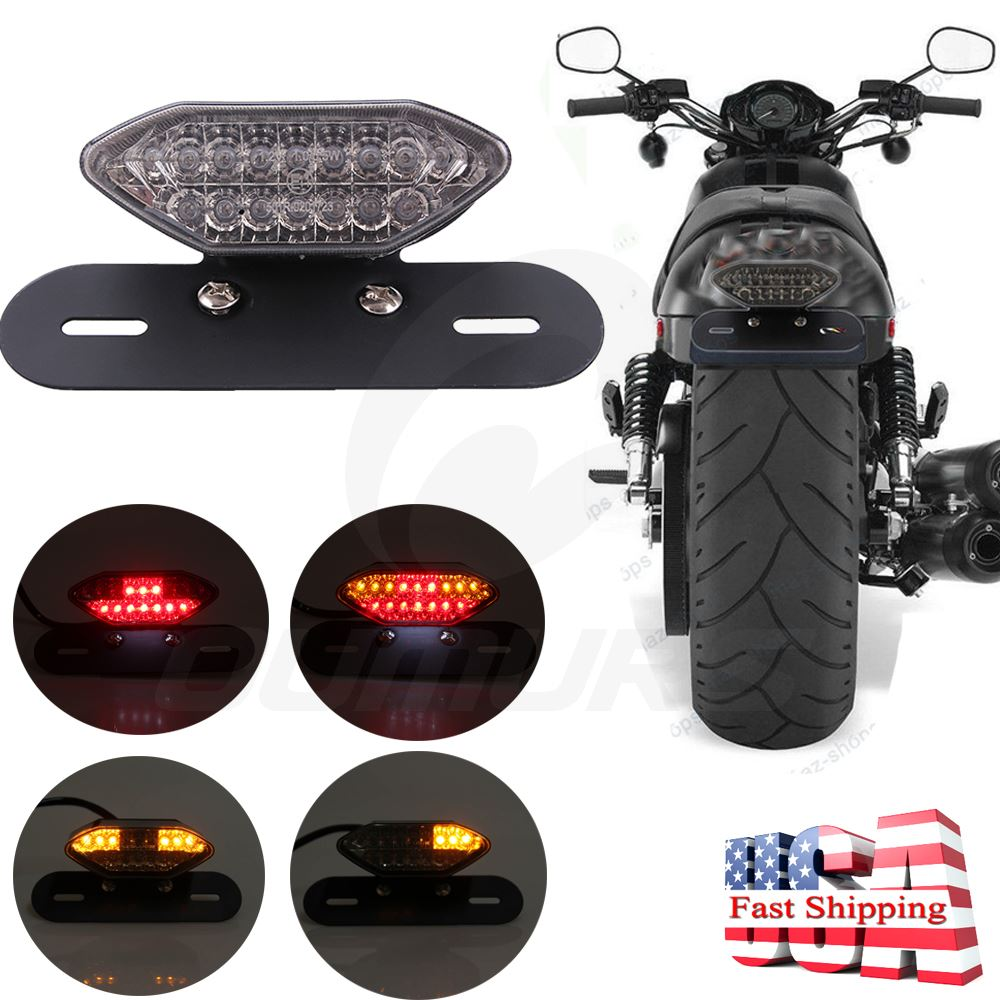 Clear LED Motorcycle Turn Signal Brake License Plate Integrated Tail Light 12V