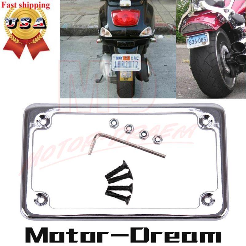 CHROME MOTORCYCLE LICENSE PLATE FRAME HONDA KAWASAKI SUZUKI YAMAHA HARLEY