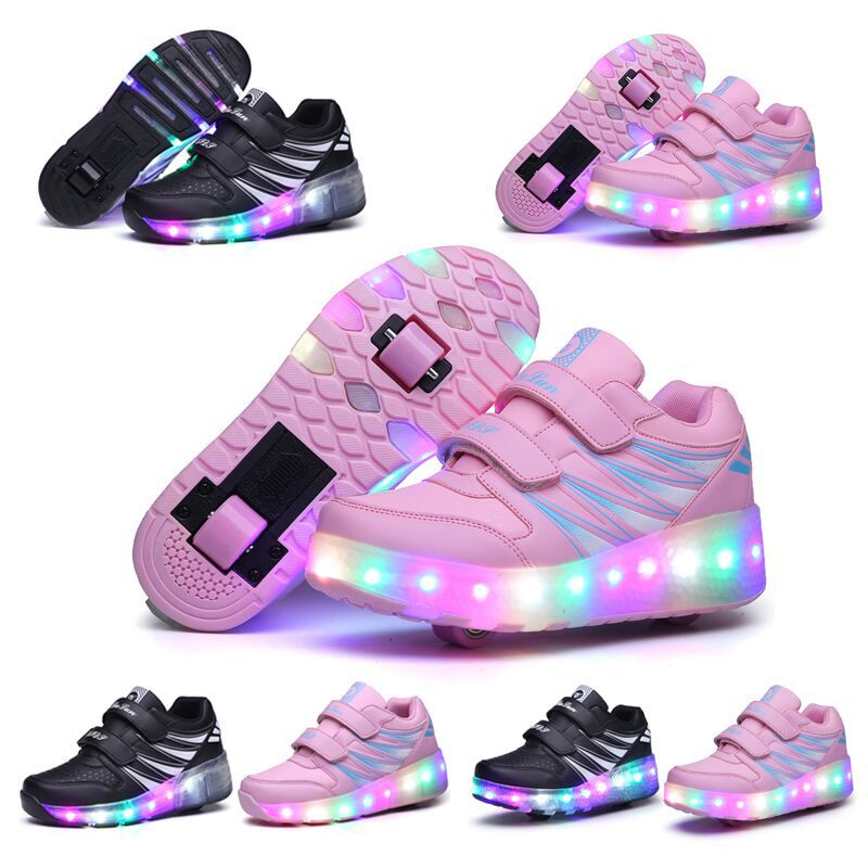 e4e9f464241 Details about 2019 LED Wheel Shoes Kids Girls Boys Led Light UP Roller Skate  Sneakers Shoes